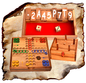 Brettspiele, Würfelspiele, Gesellschaftsspiele aus Holz Schweinchenspiel Pig Hole, Tock tock Dog, Barricade, Blockade, Domino, Shut the Box, Klappenspiel,
