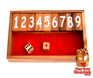 Shut the Box das Klappenspiel bis 9 als  Spielbox in Monkey Pod Holz, shut the box samanea wooden dice game
