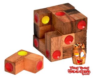 Würfelpuzzle Box small 3D Ting Tong Holzpuzzle Knobelaufgabe in den Maßen 5,7 x 5,7 x 5,5 cm, wooden puzzle brain teaser