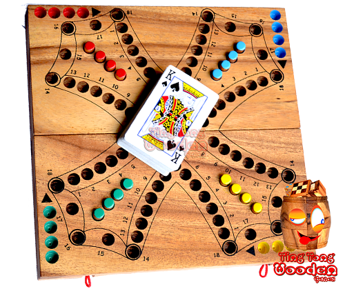 Tock Tock Dog board game made of wood for 4 players